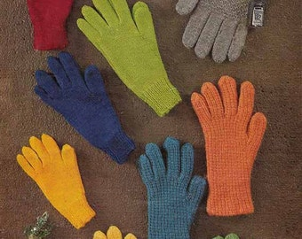 Knit Family Gloves, 1960s VINTAGE KNITTING PATTERN, All sizes, Classic Style Warm Gloves, Instant Pdf Pattern from GrannyTakesATrip 0150