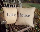 Lake House Pillow Cover Set, Lake House Decor, Decorative Pillows, Burlap Pillows, Lake House Pillows, Rustic Lake Cabin Home Decor Pillows