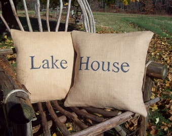 Lake House Pillow Cover Set for Rustic Cabin, Camp or Cottage Decor, Decorative Burlap Pillows, Housewarming, Vacation Home, Retirement Gift