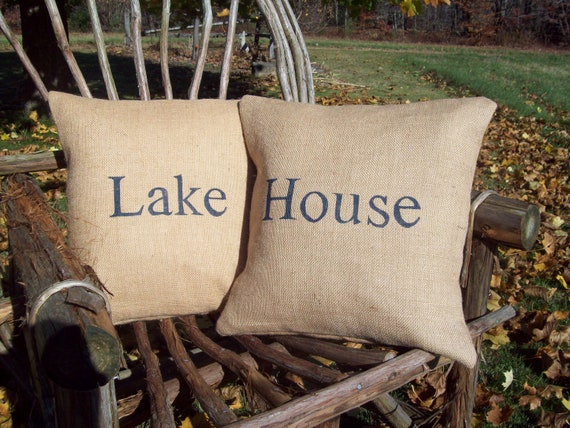 Lake House Pillow Covers, Pillow Set, Rustic Lake House Decor, Burlap Pillows, Burlap Lake House Pillows, Lake Cabin, Camp Decor Pillows