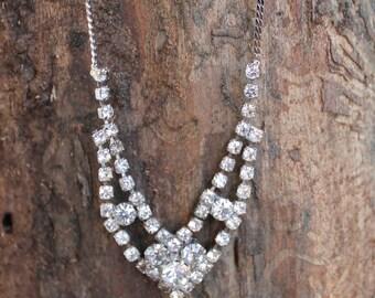 Vintage Silver Necklace with Rhinestones