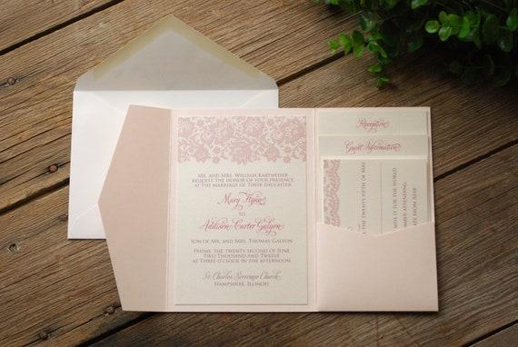 Ivory Wedding Invitation Kits: Items Similar To Lace Wedding Invitation