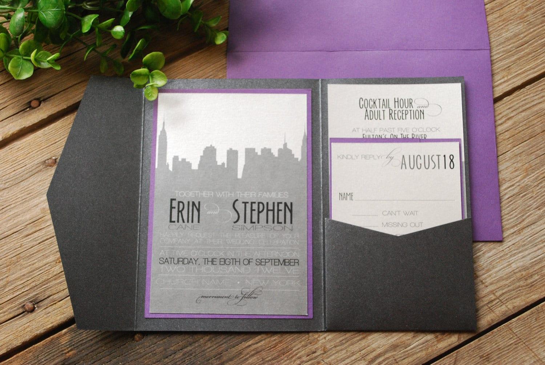 Wedding invitation new york skyline purple and black with for Wedding invitation companies nyc