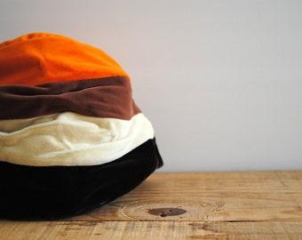 Vintage Hat - Striped Velvet Cloche Hat