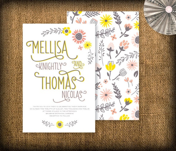 Flower Wedding Invitation DIY Design (printable) - Garden and Country
