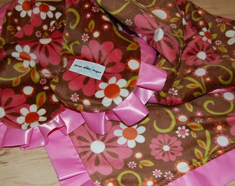 Minky Baby Blanket- Riley Blake's Indian Summer- Pink and Brown Flowers with Satin Trim- READY TO SHIP