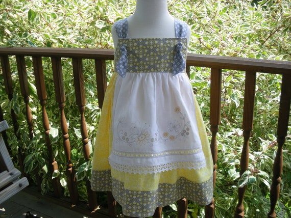 girls apron knot dress yellow and gray, available to order 2T, 3T,4T,5t