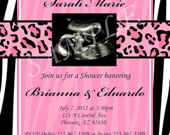 Custom Diva Zebra Cheetah Baby Shower Invitation