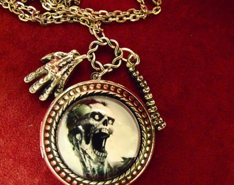 Gothic Zombie Face Image Locket Necklace Zombie Hands Spine