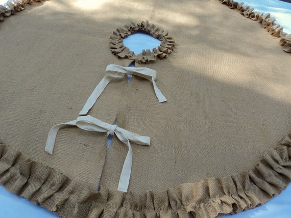 Burlap Christmas Tree Skirt With Ruffles In Sizes 36 To
