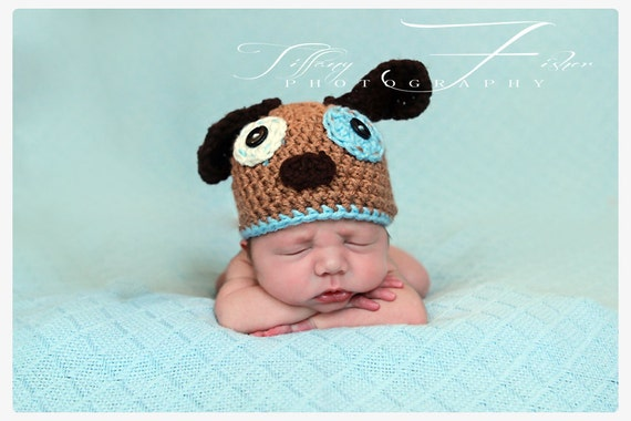 Newborn Baby Puppy Hat Photography Prop (you choose accent color, sizes nb, 1-3mos, 3-6mos, and 6-12mos)