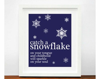 catch a snowflake Winter Christmas New Year Eve Home Decoration Modern Poster Print SALE buy 2 get 3 gift poster