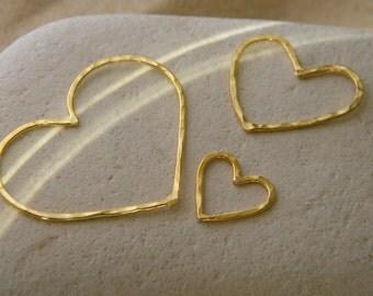 Vermeil or Silver Love Heart Connectors Pendants - Set of 3