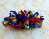 RESERVED Listing for shelze911: Rainbow Loopy Party Bow on a  French Barrette
