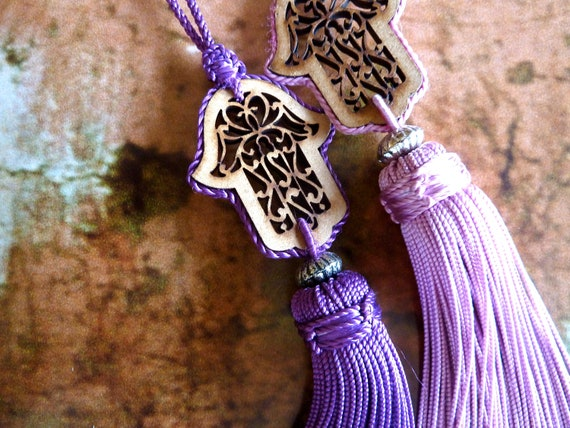 Moroccan hand made art silk tassels - hand of Fatima - wood cut  - moroccan art - rose and purple - set of two tassels