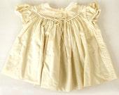 Vintage Baby Dress Pale Yellow Peter Pan Collar