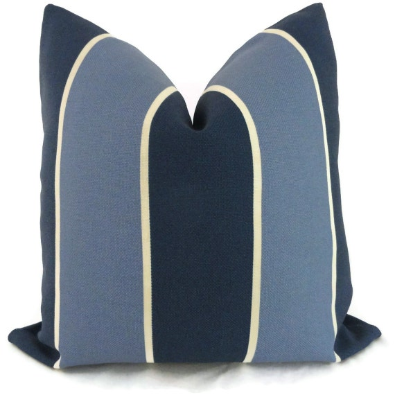Blue and Periwinkle Stripe Indoor Outdoor Pillow Cover, 18x18, 20x20 or 22x22