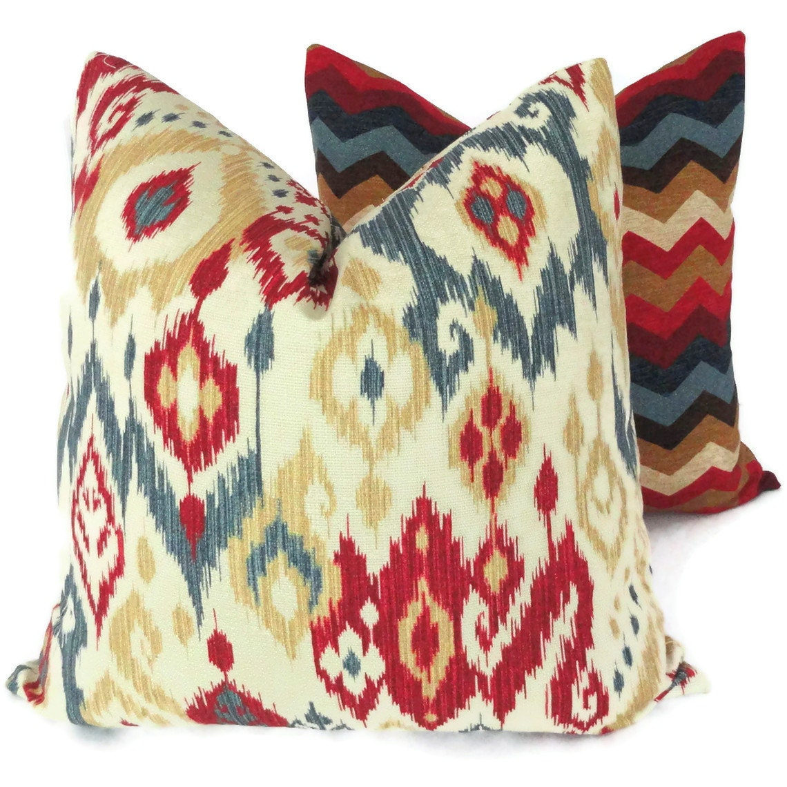 Blue Red Throw Pillow : Blue Red Honey Ikat Decorative Pillow Cover Square Lumbar