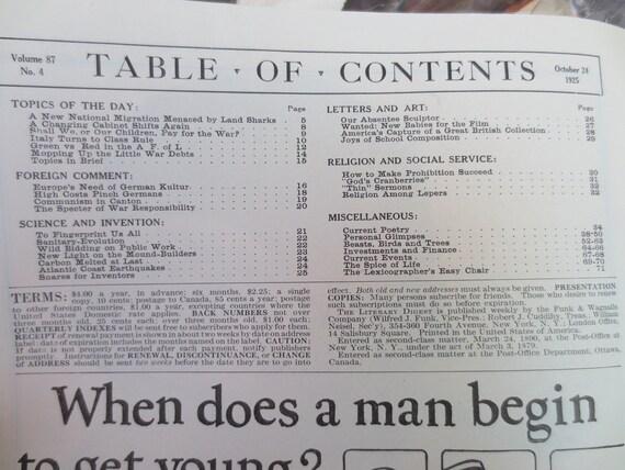 1925 Antique Literary Digest Magazine LOT Paper Ephemera Periodical October