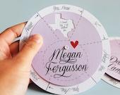 Set of 5 : Personalized Spinwheel Bridesmaid Cards - white printed names envelope
