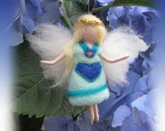 Kora - Needle Felted Wool guardian angel, Waldorf inspired fairy doll, wool