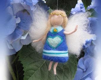 Kim - Needle Felted Wool guardian angel, Waldorf inspired fairy doll, wool
