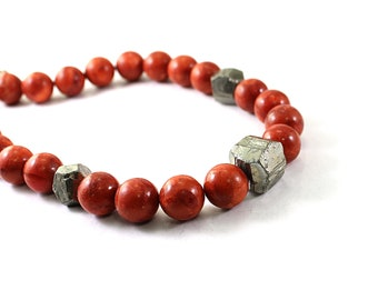 Red Coral necklace: raw pyrite necklace, rough stone jewelry, raw crystal necklace big stones chunky necklace coral jewelry, big necklace