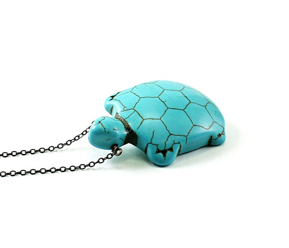 Turtle necklace - turquoise necklace blue tortoise necklace animal jewelry pet long