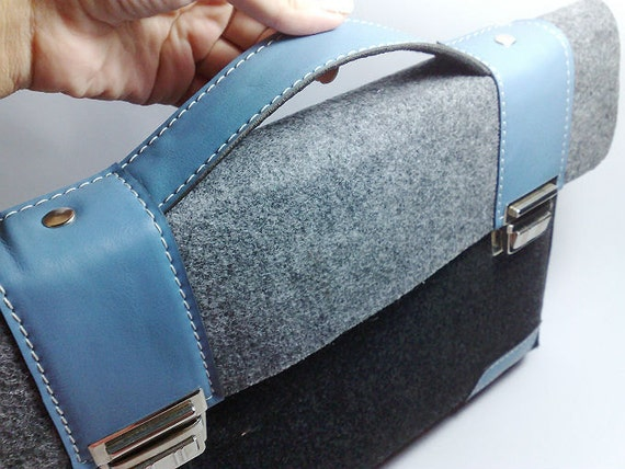 "MacBook Pro 13 and MacBook Air sleeve case felt briefcase with sky blue leather straps holder cases cover Apple 13"" inch"