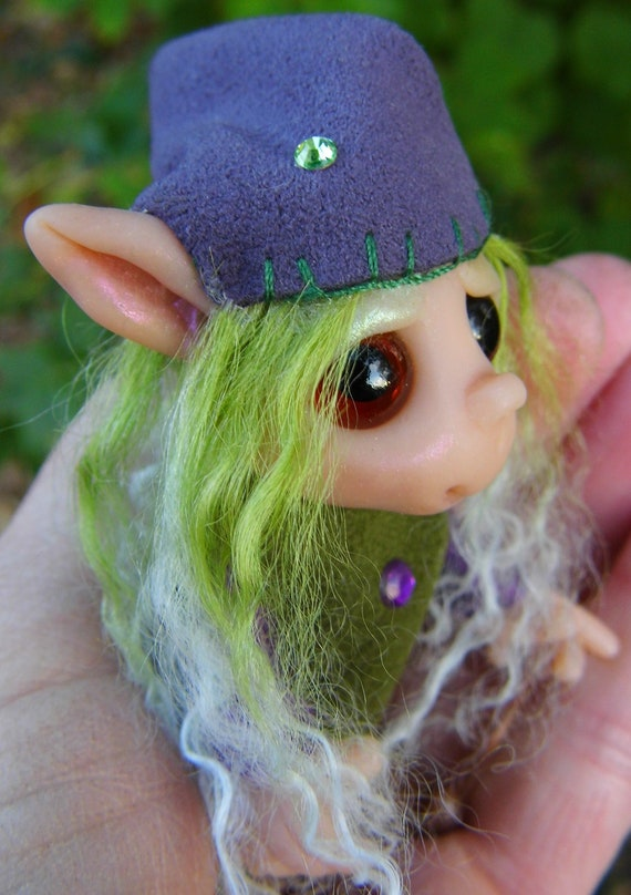 "OOAK Handmade Polymer Clay Elf Pixie ""Ellia"" Ooak Fantasy Art Doll"