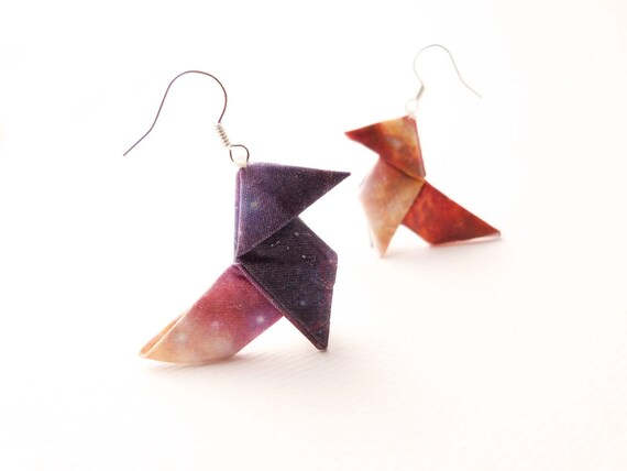Galaxy Origami earrings Ombre silk Back to school jewelry OOAK by Jye, Hand-made in France