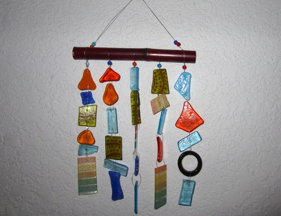 Recycled Bottle and Drinking Glass, Stained Glass and Bamboo Wind Chime