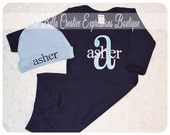 Personalized Navy Gown with Sky Blue Beanie Hat