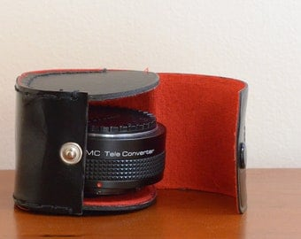 Vintage MC Vivitar Tele Converter & Leather Case - Tele Extender 2X-3, Secondary Lens, Doubles Focal Length