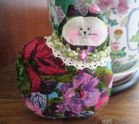 Cat Pillow Doll, Cloth Doll 7 inch Bright Floral Decorator Fabric, Primitive Soft Sculpture Handmade CharlotteStyle Decorative Folk Art