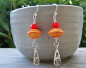 Lampwork Sterling Silver Czech Glass Earrings