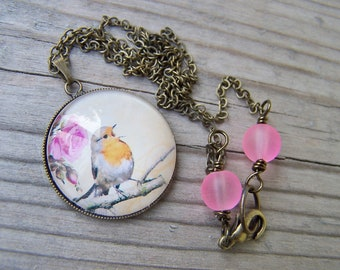 Brass Bird Necklace 25mm Glass Dome Vintage Look Pink