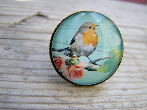 Sweet Bird Glass Dome Brass Bronze Adjustable Ring