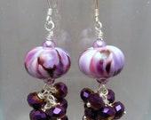 Purple lampwork earrings with czech fire polished glass bead dangles