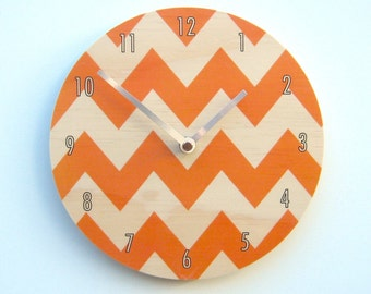 Objectify Chevron Wall Clock - Orange with Numerals