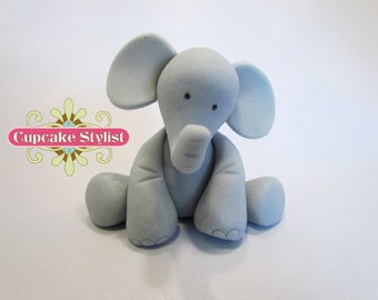 "2"" tall Fondant Elephant Cake Topper, by Cupcake Stylist"