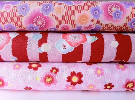 Japanese Blossom fabric bundle in red/ pink by Kona Bay (3 half yard bundle- LAST ONE)