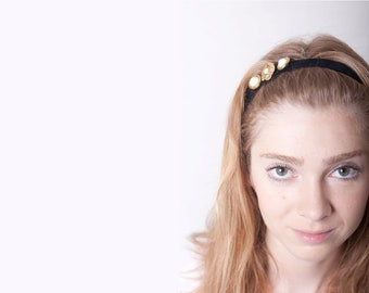 Golden Buttons Headband Black Velvet