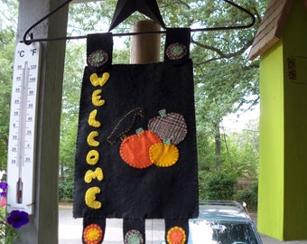Fall penny rug pumpkin door warmer