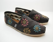 Swirl Flowers Custom TOMS Shoes