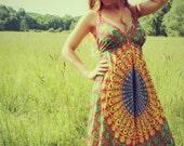 Hot Pink Hippie Dress, Red Long, Bohemian, Tapestry, Sundress, Halter Dress, Scarf Dress, Fairy Dress