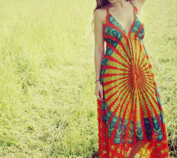 Long Hippie Dress, Bohemian, Tapestry, Sundress, Halter Dress, Scarf Dress, Fairy Dress, Backless, Blue, Festival