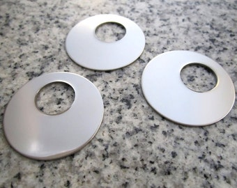 """1 1/4"""" (32mm) Off-Set Round Washer (1/2'' hole) Stamping Blanks, 22g Stainless Steel - AWESOME Silver Alternative OSRW10"""