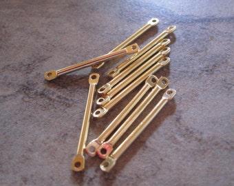 10- Gold plated brass, flat end bar, 17x2mm.  - JD195