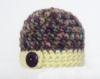 Hat Crochet PATTERN - Bulky Button Flap Beanie - 7 sizes PDF download winter hat boy girl child adult